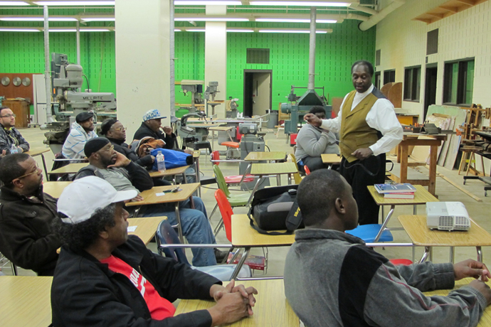 One Hope Made Strong founder Ezzard White introduces a new group of students to his program at North Division High School. (Photo by Andrea Waxman)