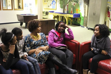 Asyria Pryor, Khaila Heard, La'Ketta Caldwell, Bianka Robinson and D'Naya Collins relax at the Boys & Girls Clubs on North 6th Street. (Photo by Alhaji Camara)