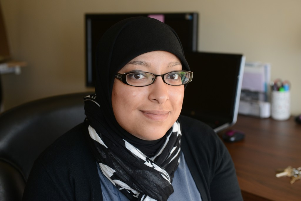 Fatima Benhaddou in her office at the Dominican Center for Women. (Photo by Sue Vliet)