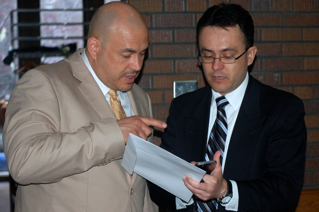 Jesus Cabrera (right), advisor for the Institute of Mexicans Abroad, chats with Alderman Jose Perez about the new Mexican consulate slated for Milwaukee. (Photo by Edgar Mendez)