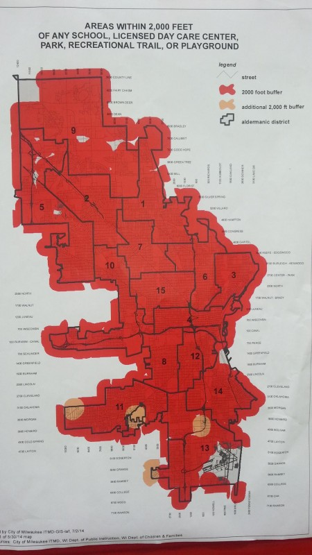 Red and orange highlights denote areas convicted sex offenders cannot reside within the city of Milwaukee.