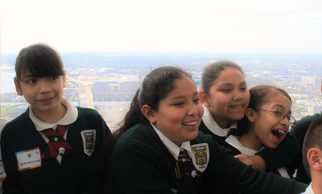St. Anthony students atop the U.S. Bank building downtown participate in the All-City Young Authors' Summit sponsored by the SHARP Literacy Book Project. (Photo by Matthew Wisla)