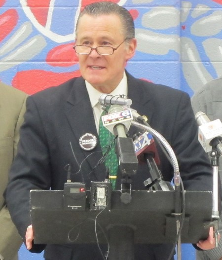 Ald. Bob Donovan (center), pictured at an unrelated event, voted against the new marijuana ordinance, saying it would have a negative impact on employment. (Photo by Edgar Mendez)