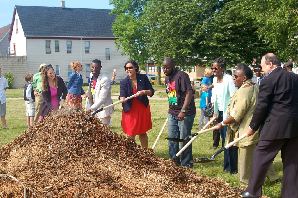 Representatives from government and community organizations break ground on the renovated Johnsons Park. (Photo by Allison Dikanovic)