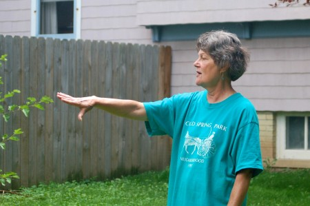 Joyce Seiser describes her vision for her dream park in the neighborhood she proudly calls home. (Photo by Allison Dikanovic)