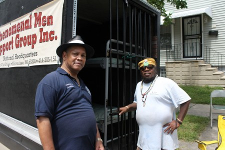 Johnson Chapman and member Rick Neighborhood have brought the Cell on Wheels trailer to nearly a dozen events this summer. (Photo by Madeline Kennedy)
