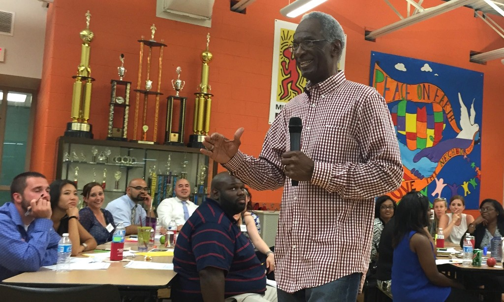 Howard Fuller tells school leaders that there is no more important work than theirs in a keynote address during a daylong training at Milwaukee College Prep Lola Rowe North Campus. (Photo by Andrea Waxman)