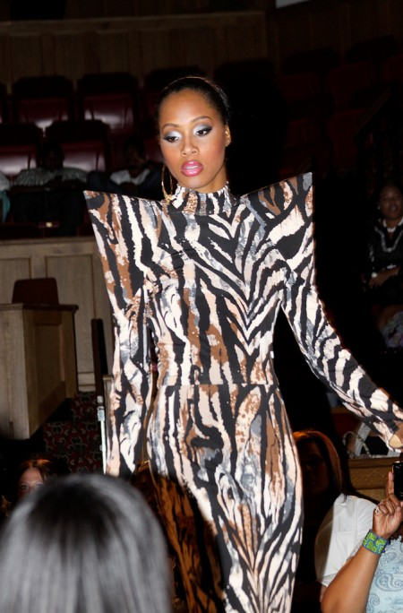 A model displays a Kelvin Haydon design on the runway at Little Rock Fashion Week 2011. (Photo courtesy of Kelvin Haydon)