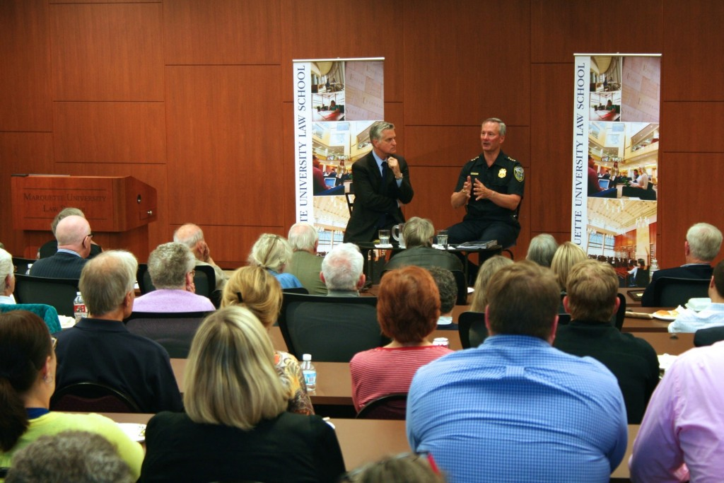Moderator Mike Gousha speaks with Police Chief Edward Flynn at Marquette University Law School's Eckstein Hall. (Photo by Jabril Faraj)