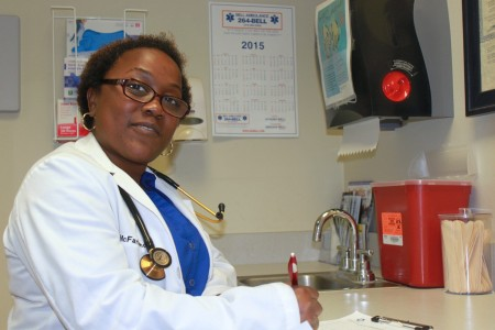 Dr. Rosalyn McFarland works in community clinics for Whole Health Clinical Group. (Photo by Matthew Wisla)