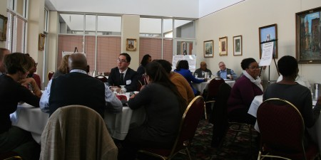 In breakout group focused on 21st century skills, attendees brainstorm ways to address black male unemployment. (Photo by Jabril Faraj)