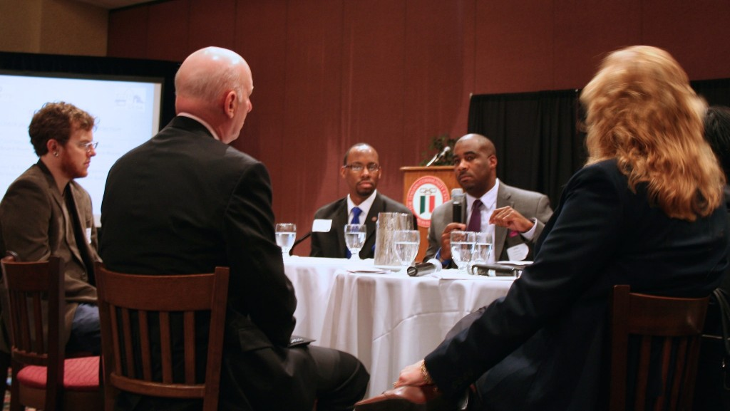 "Kalan Haywood Sr., founder and president of the locally headquartered developer Vangard Group, speaks during the ""fishbowl"" discussion. (Photo by Jabril Faraj)"