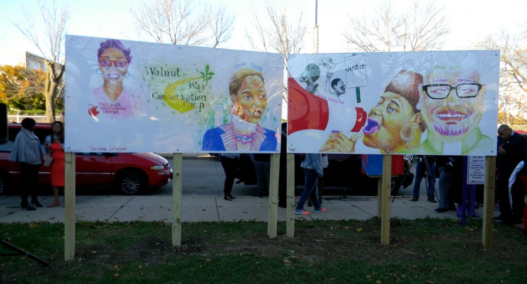 The mural is made up of four separate panels with portraits of Milwaukee cultural leaders on both sides. (Photo by Stephanie Harte)