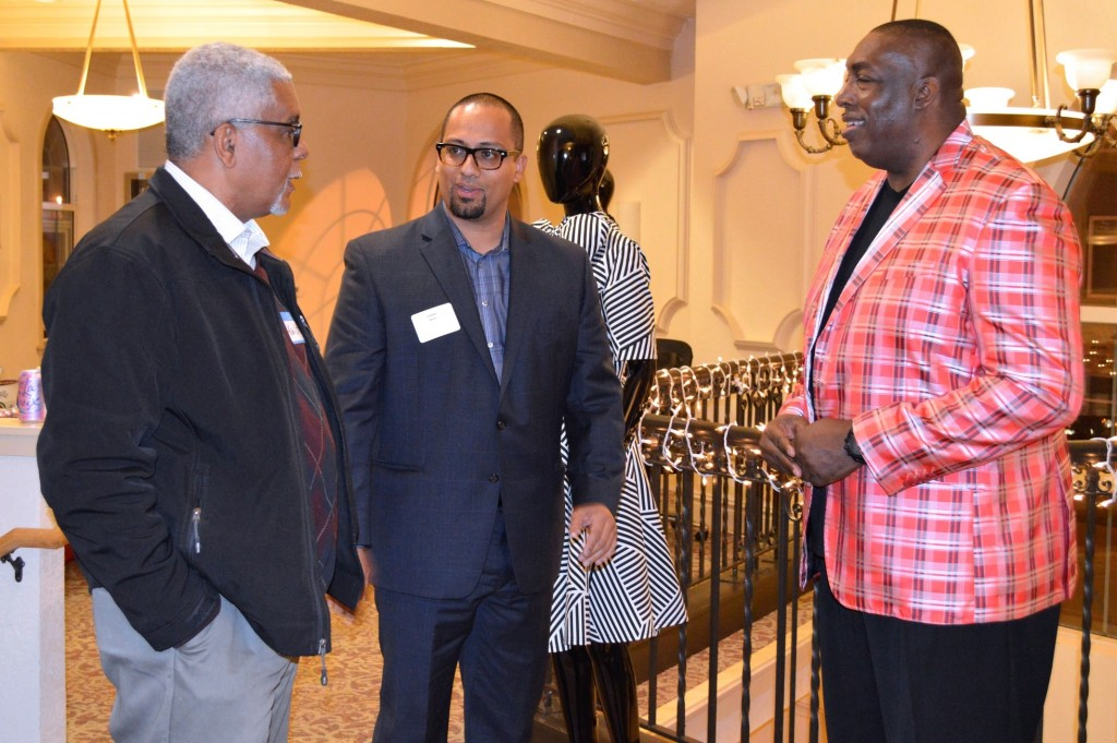 Ken Little and Joaquin Altoro attend a reception for Milwaukee fashion designer Kelvin Haydon. (Photo by Hannah Kirby)