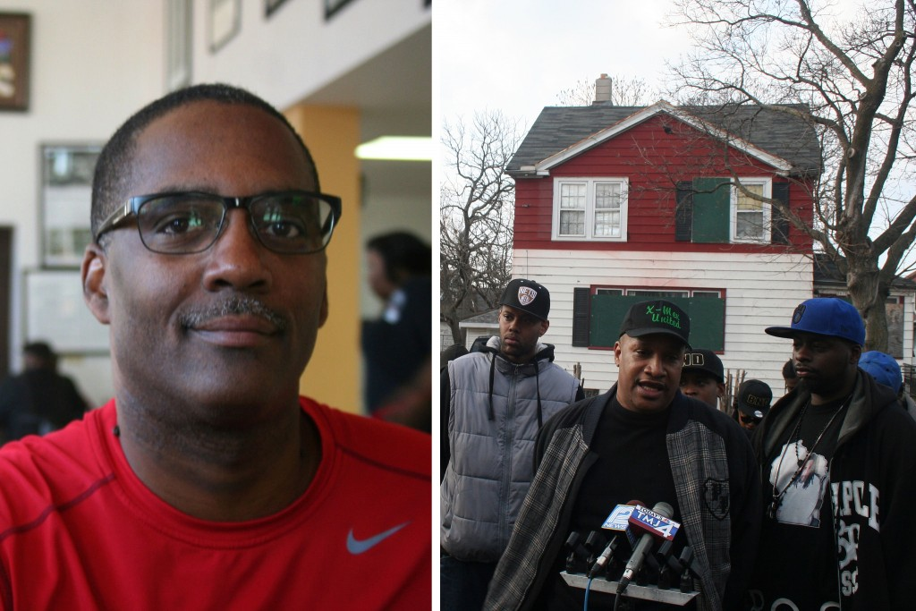 Reggie Jackson (left photo). Members of Milwaukee street organizations at a press conference in Garden Homes (right photo). (Photos by Jabril Faraj)