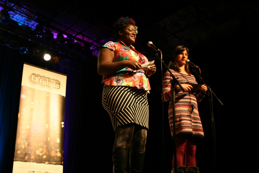 Tiffany Miller (left) and Megan McGee introduce the storytellers. (Photo by Jabril Faraj)