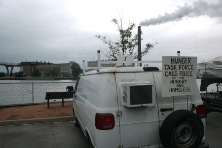 Raymond Rosa's van, at Gerry's Dock off of South Water Street. (Photo by Jabril Faraj)