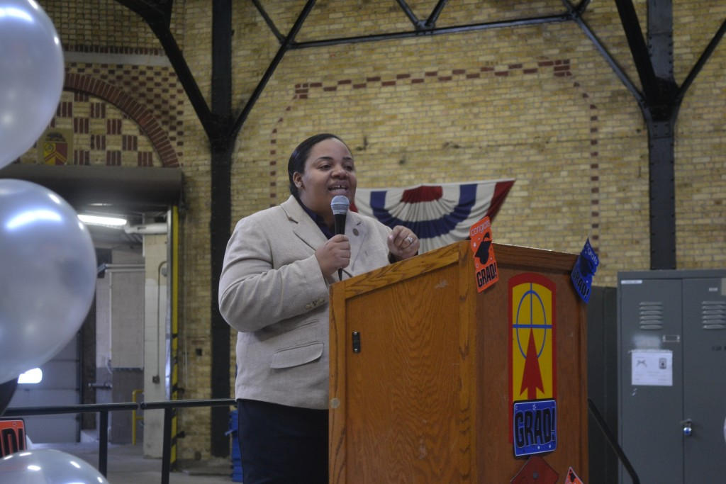 Alderwoman Milele Coggs was the graduation's keynote speaker. (Photo courtesy of SDC)