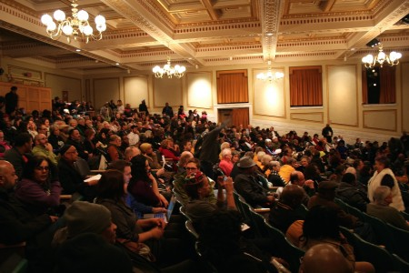 Attendees packed the 700-seat Centennial Hall. (Photo by Jabril Faraj)