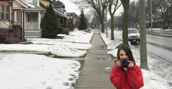 On Layton Boulevard with Janelle and Mara Gramling