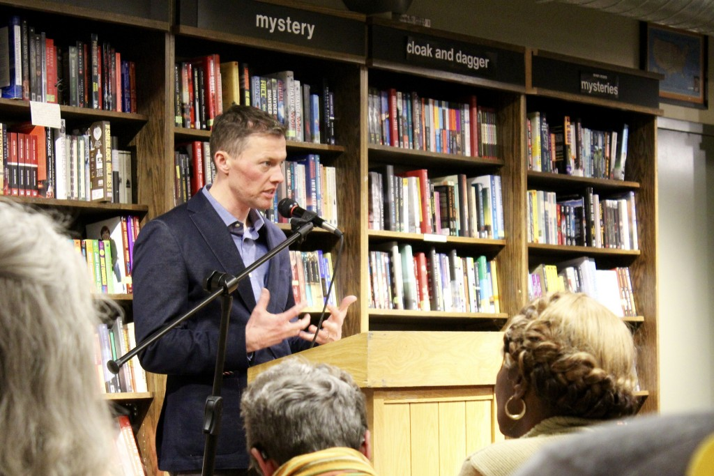 "Harvard sociologist Dr. Matthew Desmond discusses his book, ""Evicted: Poverty and Profit in the American City."" (Photo by Allison Dikanovic)"