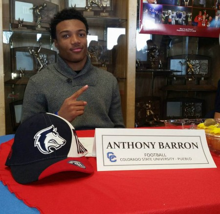 Anthony Barron signed a letter of intent to play football at Colorado State University-Pueblo. (Courtesy of Charles Brown)
