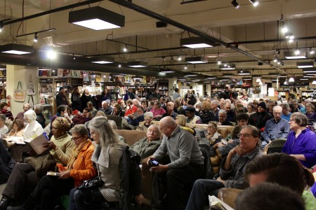 People pack Boswell Books to hear Desmond speak. (Photo by Allison Dikanovic)