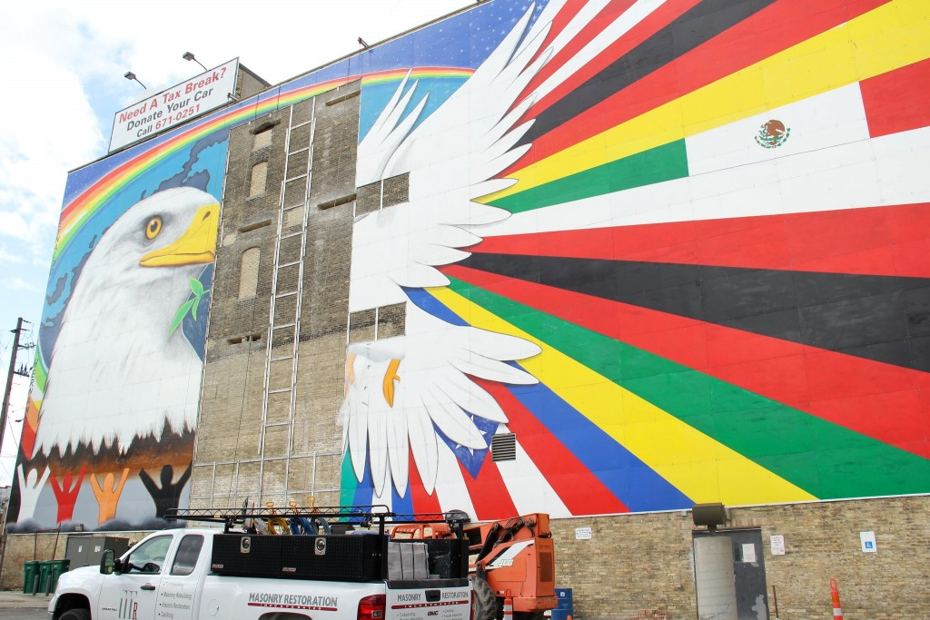 "Reynaldo Hernandez will restore his ""Mural of Peace,"" seen from Interstate 43. (Photo by Sophia Boyd)"