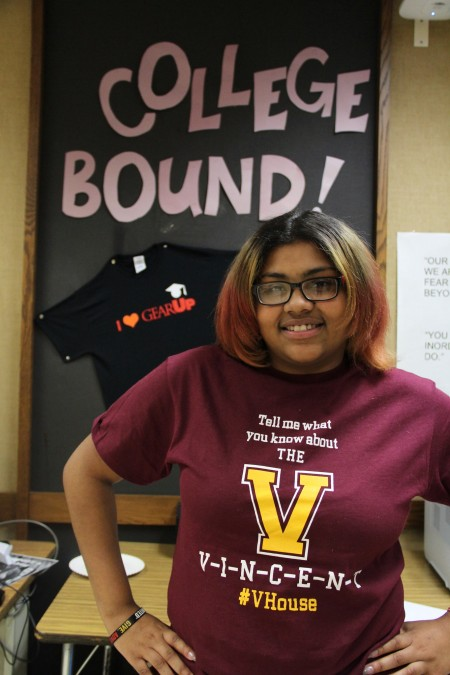 Cymone Newton, a senior at Vincent High School, has won $8,000 in college scholarships. (Photo by Sophia Boyd.)