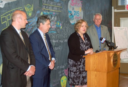 Aldermen Nik Kovac (left) and Michael J. Murphy joined Beth Haskovec, executive director of Artists Working in Education, and Milwaukee Mayor Tom Barrett to announce a $50,000 grant to fund an art component of MKE Plays. (Photo by Edgar Mendez)