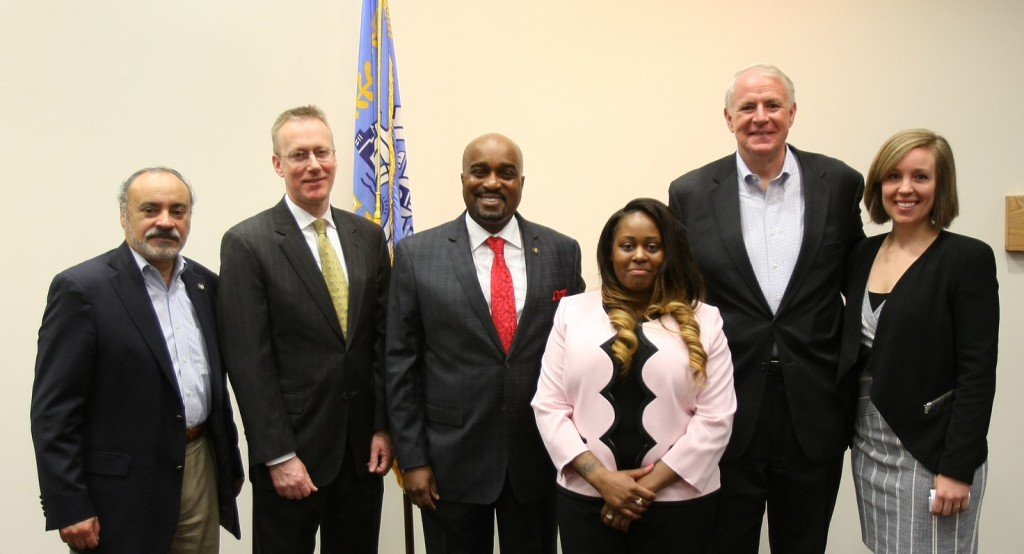 (L to R) Antonio Perez, US Attorney Gregory J. Haanstad, Antonio Riley, Francesca Yerks, Mayor Tom Barrett, and Atty Chris Donahoe.Housing Authority of the City of Milwaukee is partnering with Legal Action of Wisconsin to provide legal services to young adults (18-24) who are current public housing residents...a collaboration between the US Department of Housing and Urban Development is providing a $100,000 grant called the Juvenile Reentry Assistance Program (JRAP) which is a grant to help reestablish individuals back into their communities after incarceration.     (Photo by Pat A. Robinson, courtesy of Housing Authority of the City of Milwaukee)