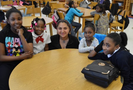 Lila Saavedra gathers with pupils from 53rd Street Elementary School.
