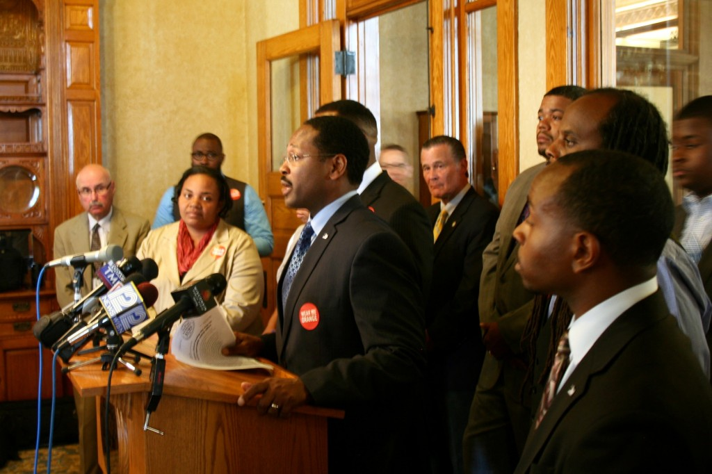 Common Council President Ashanti Hamilton and 11 of the city's 14 other aldermen unveiled a multi-pronged anti-violence initiative. (Photo by Jabril Faraj)
