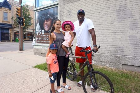 Lucia and William Jenkins, who live with their children in Bronzeville, would like to see Bublr offer cargo bikes. (Photo By Rebecca Carballo)