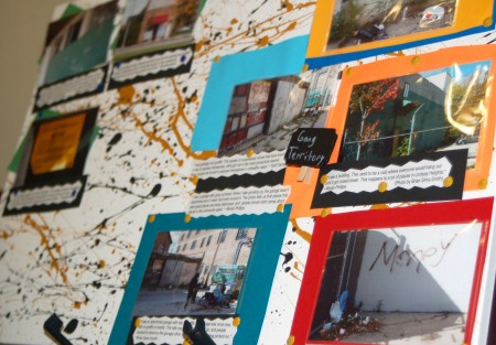 A photo board highlights improvements students think can be made in Lindsay Heights. (Photo by Rebecca Carballo)