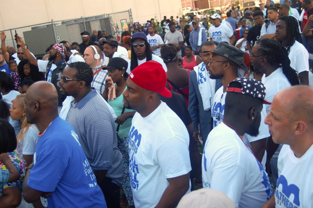 "Between 150-200 men gathered for the kickoff of the ""500 Fathers United Initiative"" at Moody Park. (Photo by Edgar Mendez)"