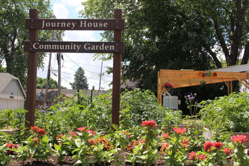 University of Wisconsin-Extension's community gardens can be found in many city neighborhoods. Pictured is the Journey House Community Garden in Clarke Square. (Photo by Rebecca Carballo)