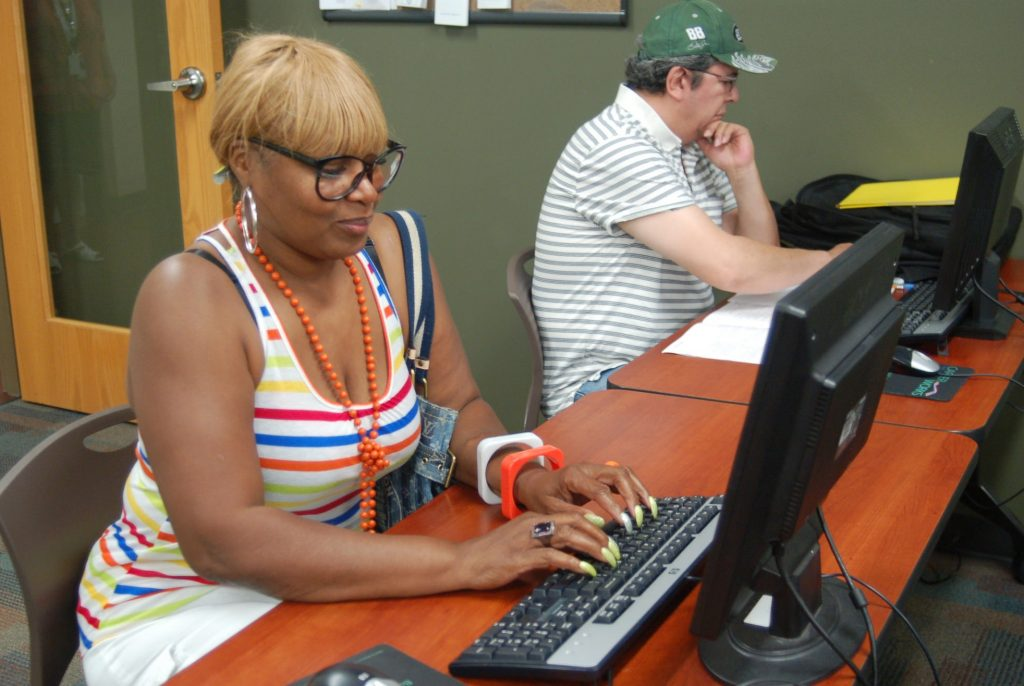 Donna Jones, a displaced Cargill worker, is taking early childhood education classes at MATC. (Photo by Edgar Mendez)