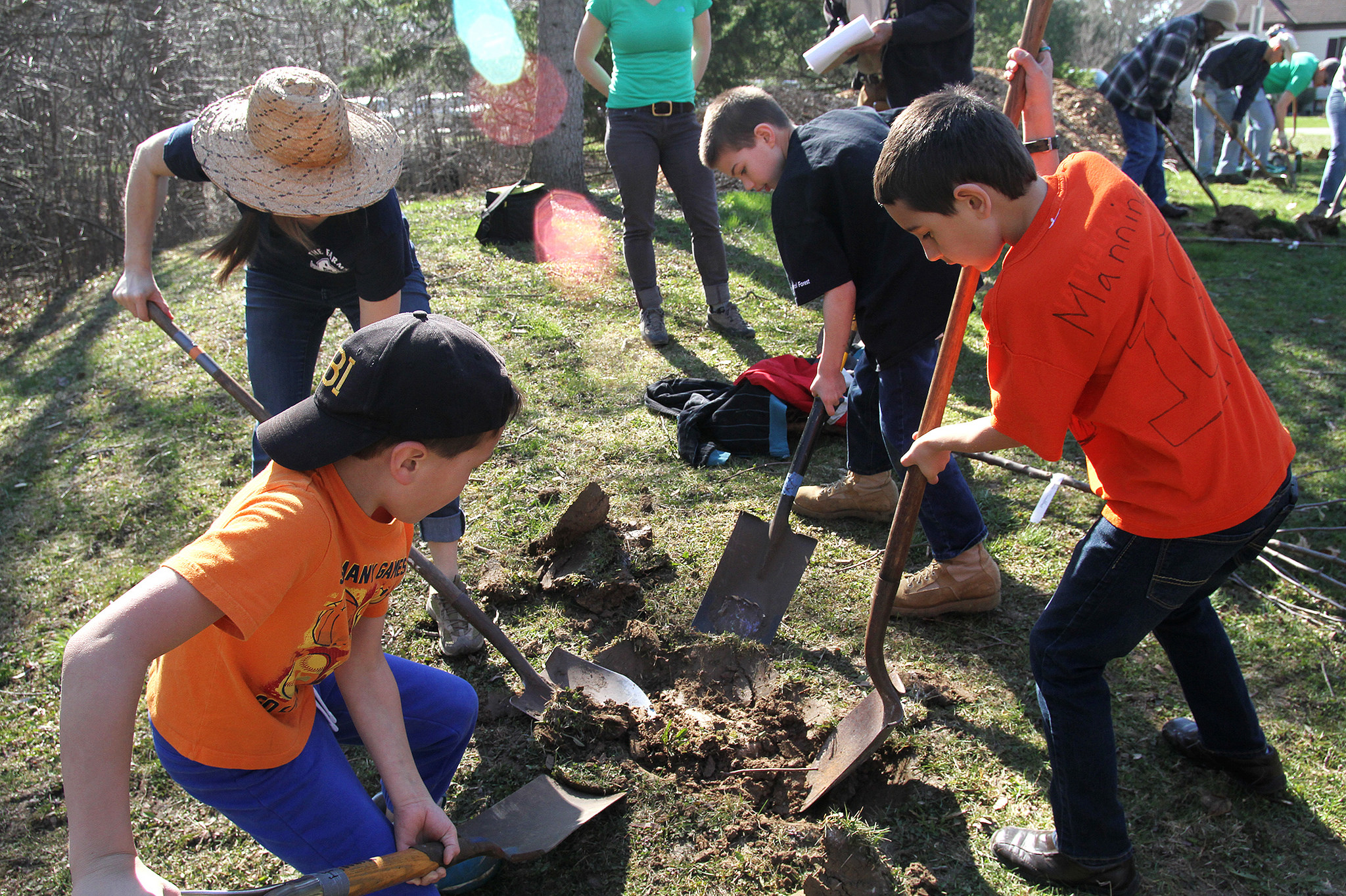 Boy scout troops helped plant trees at a location in Hales Corners. Hales Corners Environmental Committee was one of 2016's Fruity Nutty Five Contest winners. (Photo by Hannah Kiger, Victory Garden Initiative)
