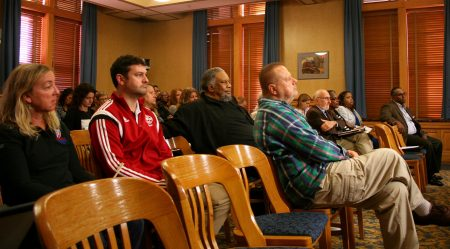 A crowd largely made up of individuals representing community organizations looks on during a Public Safety Committee hearing to solicit feedback on the its draft public safety plan. (Photo by Jabril Faraj)
