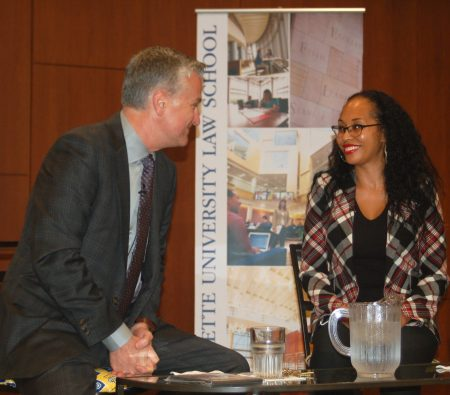 "Kimberley Motley chats with Mike Gousha before her ""On The Issues"" interview. (Photo by Andrea Waxman)"