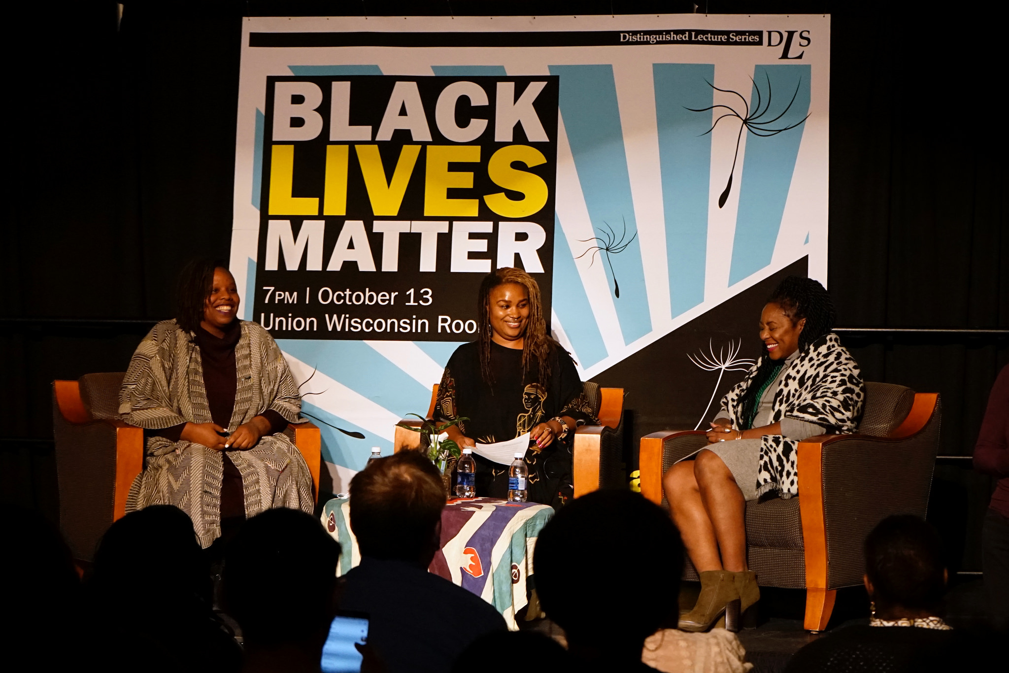 Co-founders of Black Lives Matter Patrisse Cullors (left) and Alicia Garza answered questions from the audience and moderator Charmaine Lang (center). (Photo by Adam Carr)