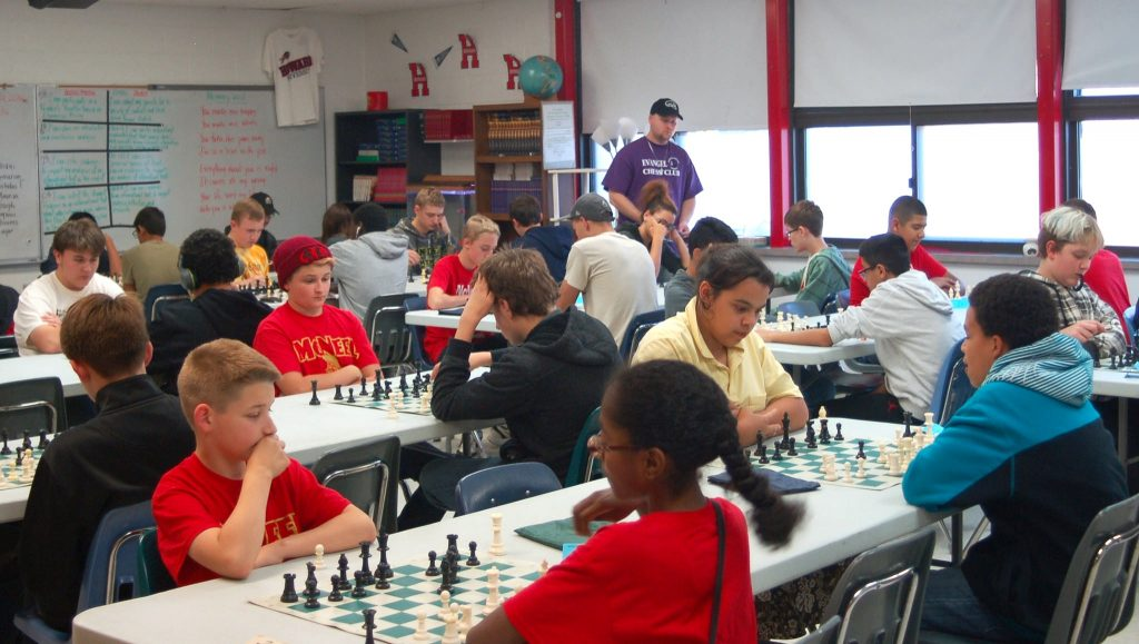 K12 division participants play in the last round of the Wisconsin Scholastic Chess Federation tournament at Siloah Lutheran School. (Photo by Brittany Carloni)