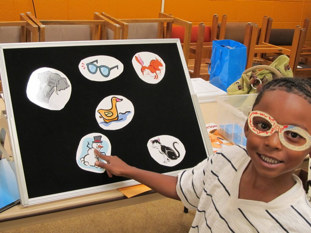 A preschooler participates in Prevent Blindness Wisconsin's Your Amazing Eyes program.