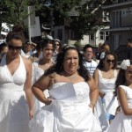 'Brides' take to streets to protest domestic violence