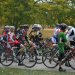 Cyclocross bikers overcome obstacles in Mitchell Park