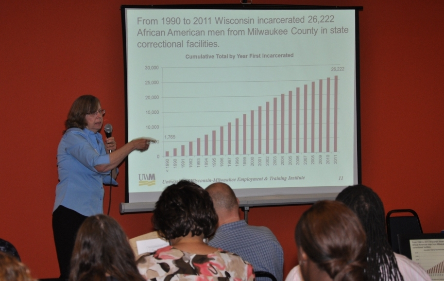 Dr. Lois Quinn of UWM shows how incarceration of African American men has grown over past twenty years.