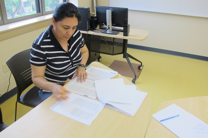 Fatima Lara, who's taking GED prep classes at Journey House, is trying to complete her GED exams before the test changes. (Photo by Edgar Mendez)