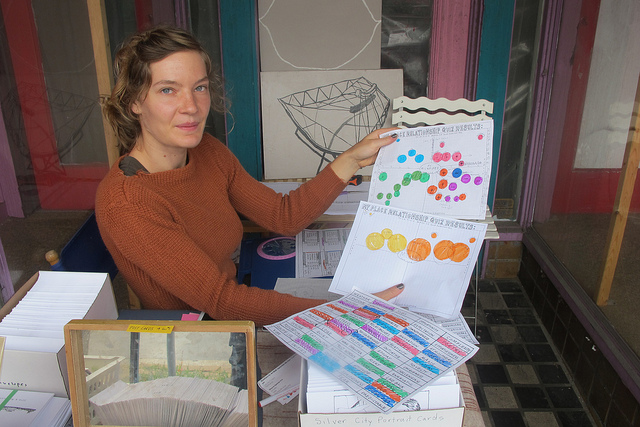 Sarah Luther, a visual artist from Milwaukee, displays the quizzes she created to help people graph their leisure time. (Photo by Edgar Mendez)