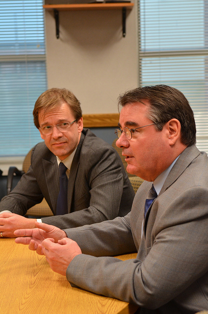 County Executive Chris Abele and Mike Hafemann, superintendent of the Milwaukee House of Corrections. (Photo by Sue Vliet)